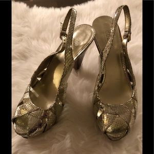 GUESS gold colored peep toe high heels